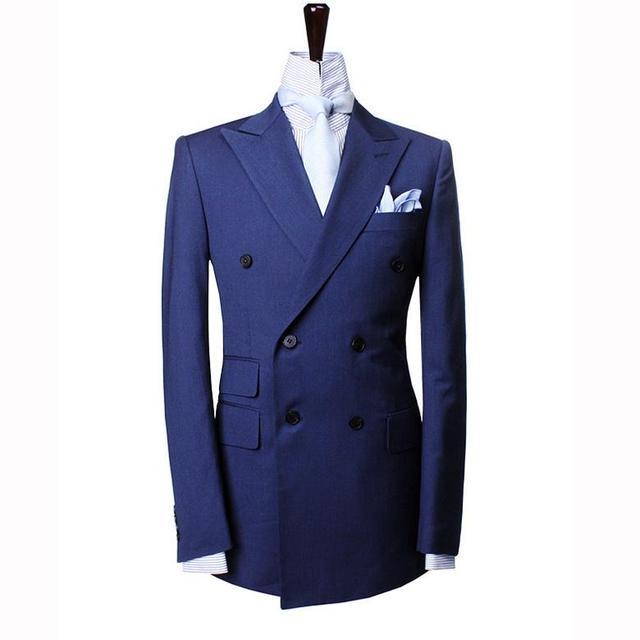 2015 high-end-custom herren zweireiher blau polyester anzug anzug zwei männer bankett anzüge 2 Stück Jacke + pants