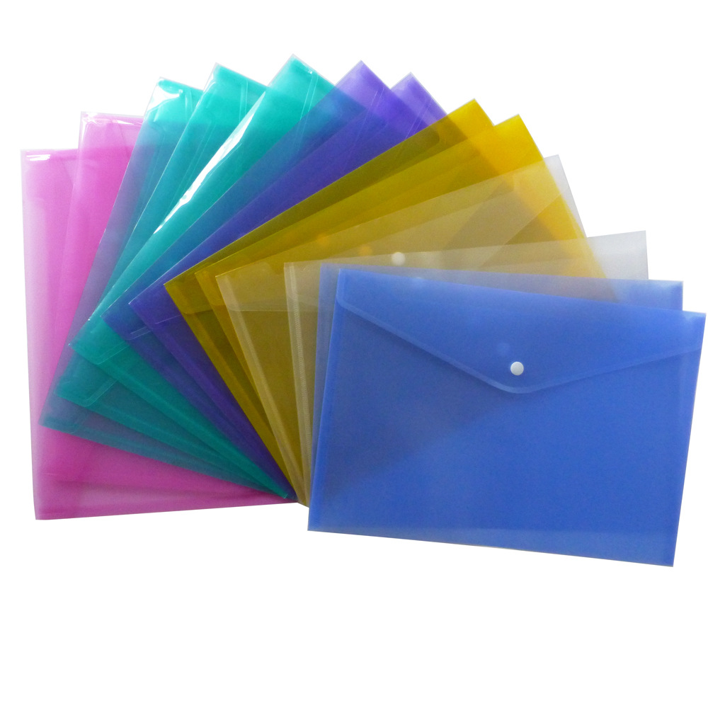 A4 Clear Document Bag Paper File Folder Stationery School Office Case PP 6colors(China)