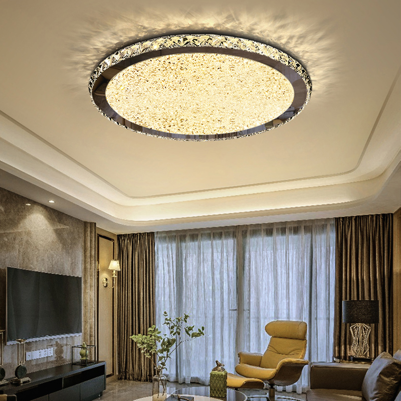 Remote Dimming Crystal Modern LED Ceiling Lights For Living Bed Room Light Home Lighting Fixtures Stainless Steel Ceiling Lamp