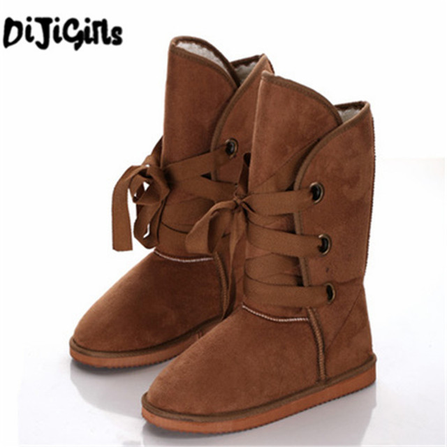 Winter Woolen Lace Up Snow Women Boots Shoes ladies
