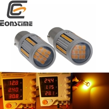 Eonstime 2pcs 30W 2.4A 66SMD LED CanBus No Error 1156 BAU15S PY21W Car Turn Signal light No Hyper Flash Yellow/Amber 10V-30V 2pcs bau15s 1156 double colors turn signal drl 2835smd white amber yellow error free canbus with resistor led car lights