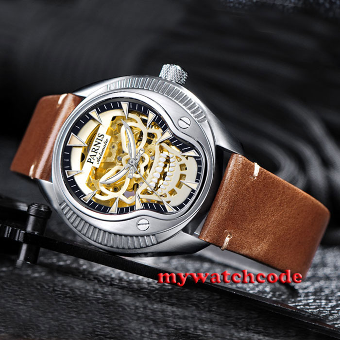 44mm Parnis golden skeleton dial Sapphire glass 21 jewels Miyota automatic mens watch P711 42mm parnis withe dial sapphire glass miyota 9100 automatic mens watch 666b