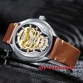44mm Parnis goldene skeleton zifferblatt Sapphire glas 21 juwelen Miyota automatische herren uhr P711-in Mechanische Uhren aus Uhren bei