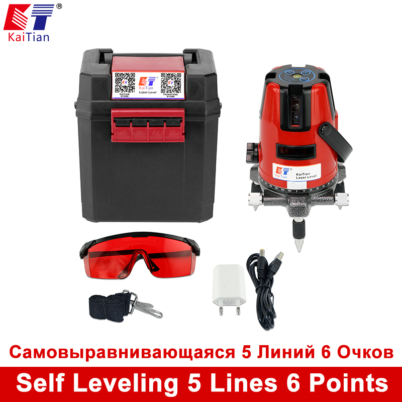 KaiTian 5 Lines 6 Points Laser Level 360 degrees Rotary Laser Leveling Horizontal Vertical Outdoor Mode 635nm Cross Laser lines