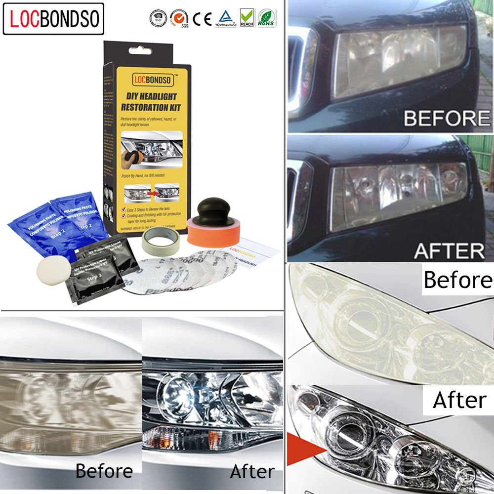 Locbondso 1 Set Auto Car Headlight Lens Restoration System
