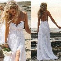 Vestido de NoivaLace Spaghetti Straps Wedding Dresses Backless 2019 Bridal Dress Robe De Mariee