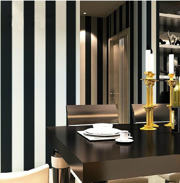 Wallpaper Roll Modern Brief Vertical Black And White Stripe For Living Room Background Wall Home Decor In Wallpapers From Improvement On