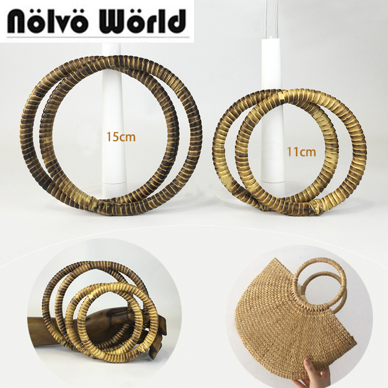 5 Pairs=10 Pieces,Natural Rattan 11cm 15cm Round Carry Handles,diy Lady Pastoral Style Bags Bolso Summer Beach Bag Circle Handle