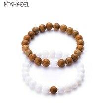 Poshfeel 2Pcs/Set Couples Distance Bracelet Natural Stone Bracelets for Men Women Best Friends Pulsera Lovers Jewelry MBR170035