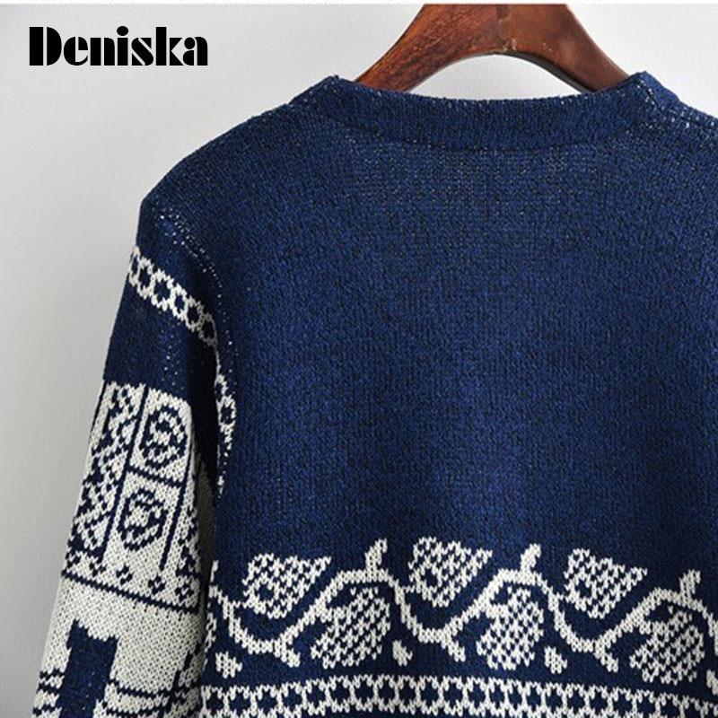 Print Elephant Long Cardigan Women Autumn Indian Knitted Sweater
