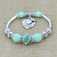 Fashion Silver Plated Jewelry Love Heart Charm Bracelets Bangles Glass Beads Strand Bracelets for Women 2017
