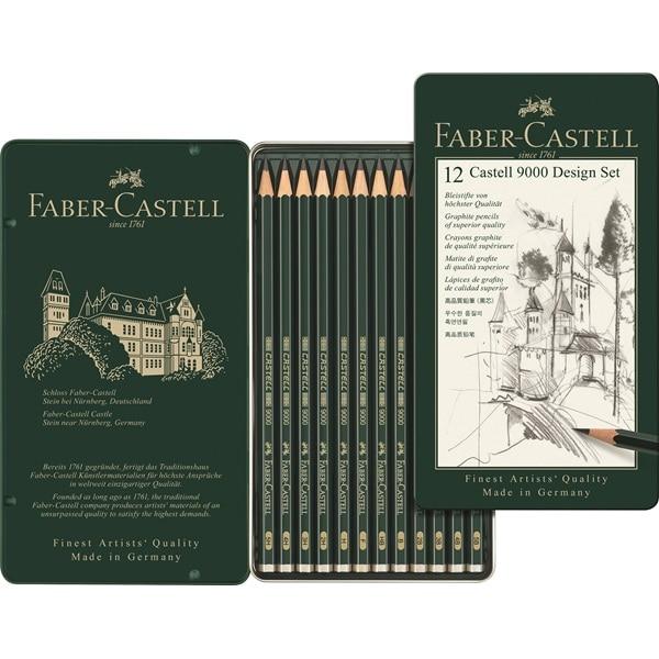 FABER CASTELL 9000 pencil sketch art supplies drawing pencil 12 box set 119064 faber castell 9000 advanced pencil sketch 12pcs tin set faber castell drawing pencils