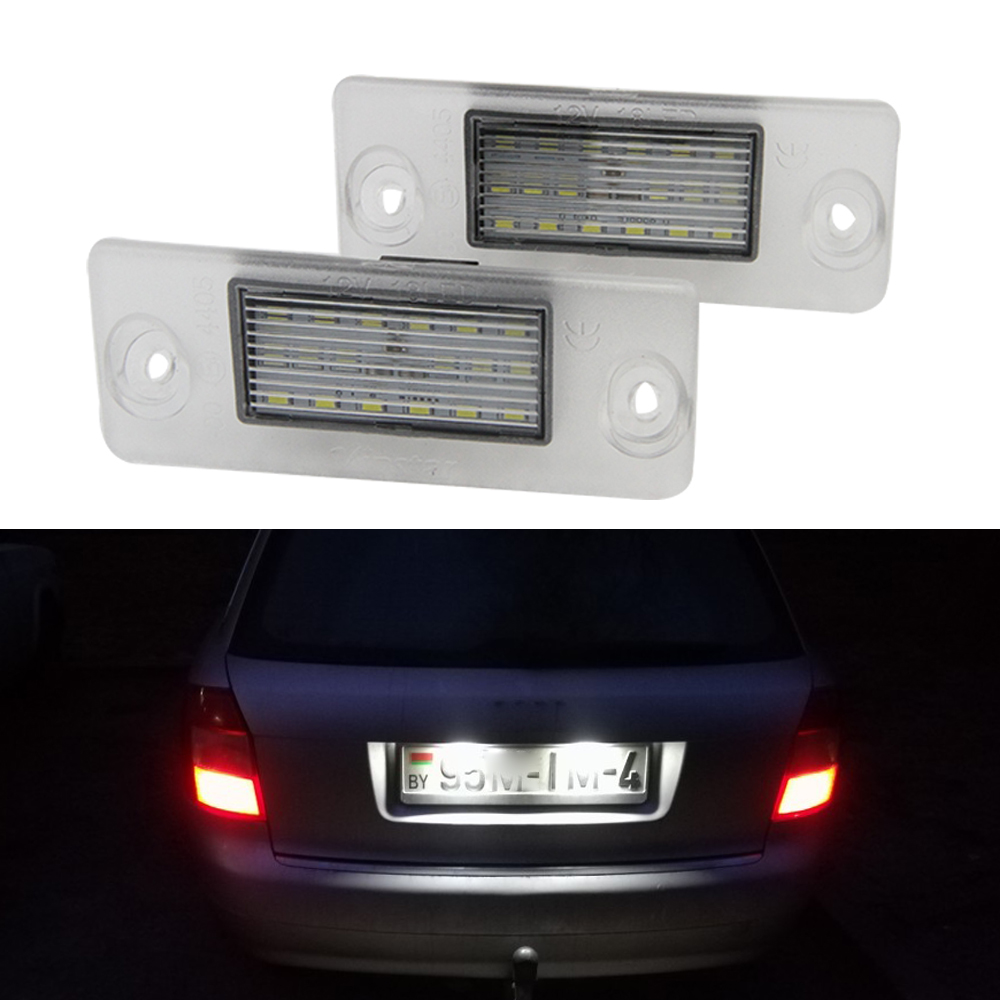 2pc Car 18LED Number License Plate Lights Lamp For <font><b>Audi</b></font> <font><b>A4</b></font> <font><b>B5</b></font> 95-01 S5 <font><b>B5</b></font> A3 8L S3 Sportback <font><b>A4</b></font> S4 Avant 95-99 6000K Xenon White image