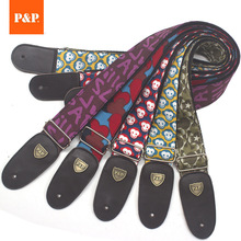 Guitar Strap Print Double Leather Genuine Cotton Thicken 5cm Wide Adjustable Folk Electric