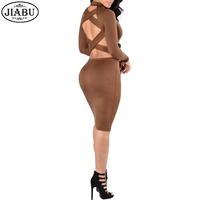 Newest Autumn Winter Fashion Black Brown Dress Turtleneck Bodycon Midi Women Dresses Bandage Sexy Backless Dress