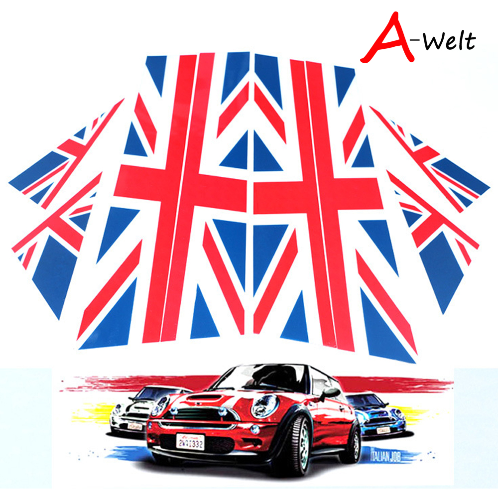1set/8pcs Red Blue Black White Union Jack UK Flag Style Checkered Door sided decoration stickers For Mini Cooper R60 Countryman ad 0809 car door guard protectors stickers black 8 pcs