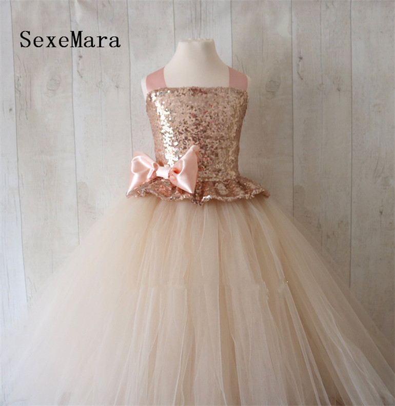 Rose Gold Sequins 2019 Flower Girl Dress Champagne Puffy Tulle Ball Gown Little Princess Birthday Party Dress Christmas Gown fashionable sleeveless sequins embellish multilayered flower spliced mini ball gown dress for girl