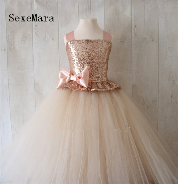 a6856d3df87a Rose Gold Sequins 2019 Flower Girl Dress Champagne Puffy Tulle Ball Gown  Little Princess Birthday Party Dress Christmas Gown