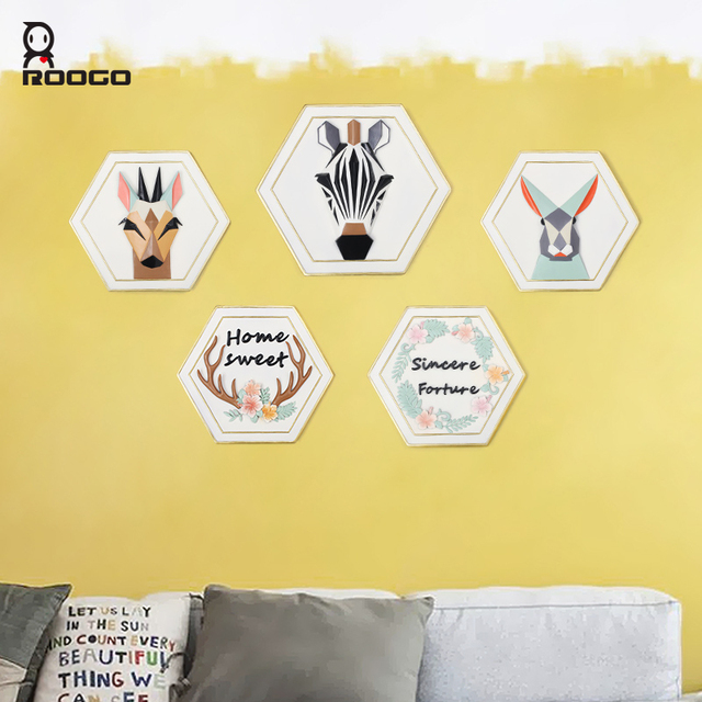 ROOGO 3d animal wall hanging cartoon shape home decoration ornament ...