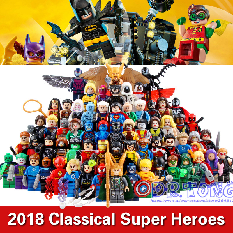 DR.TONG 2017 64pcs/LOT Marvel&DC Super Heroes Batman Deadpool Iron-man Harley Quinn Robin Building Blocks Bricks Children Toys building blocks super heroes back to the future doc brown and marty mcfly with skateboard wolverine toys for children gift kf197