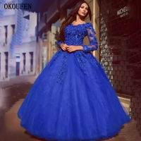 Quinceanera Dresses 2019 Royal Blue Scoop Long Sleeves Sweet 16 Prom Birthday Party Ball Gown vestido de 15 anos Formal Party