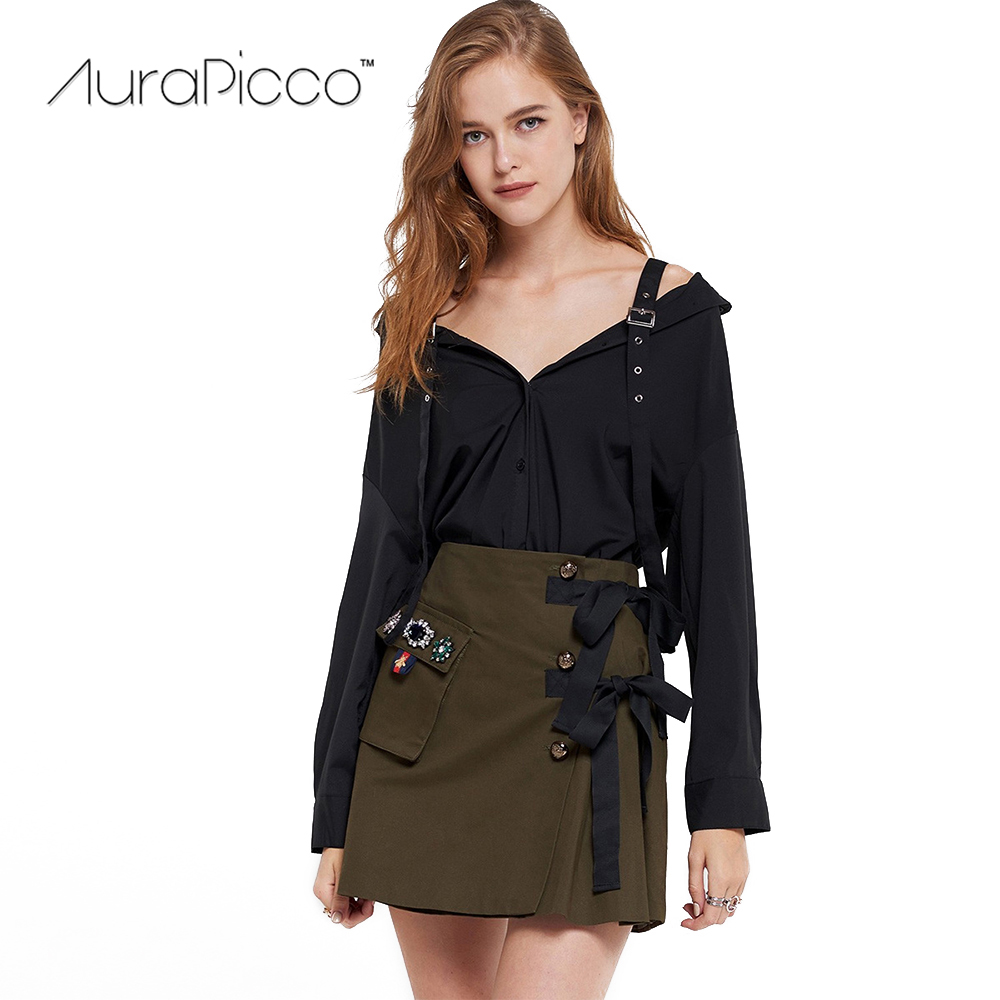 Womens Off The Shoulder Button Shirts Long Sleeve Solid Color Blouses with Adjustable Buckle Shoulder Strap 2018 New AuraPicco