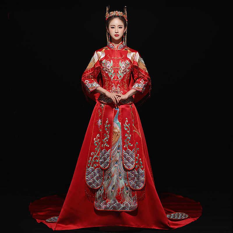 נשים מזרחי סיני Qipao אסיה כלה חתונה נגרר שמלת שמלת סוז רקמת טווס Cheongsam האן פו בגדי חליפה