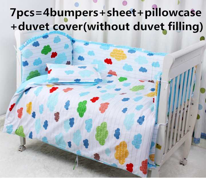 2017! 6/7PCS Cot Crib Baby Bedding Set Quilt Cover Bumper Bed Crib Bedding Set , Duvet Cover,120*60/120*70cm promotion 6 7pcs baby cot crib bedding set crib quilt bumper 120 60 120 70cm