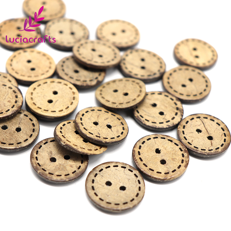 Lucia crafts 12pcs/24pcs 2-Holes Brown Coconut Shell Sewing Buttons DIY Scrapbooking Round Button Clothing Accessories 13010067