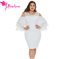 Dear Lover New Spring Autumn Sexy Women Plus Size Party Dress White Cold Shoulder Double Ruffles Sleeve Plus Size Dress LC220511
