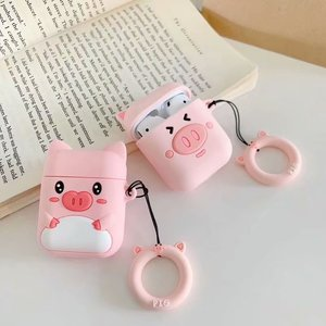 Image 4 - Чехол для наушников с защитой от потери для Apple Airpods, милый мягкий силиконовый чехол для женщин и девочек с 3D рисунком розовой свиньи для Airpods, с ремешком кольцом