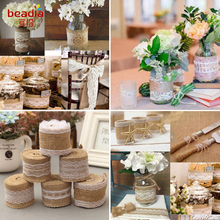 Buy wedding decorations and get free shipping on aliexpress 2 meters 5cm jute burlap rolls hessian ribbon with lace rustic vintage wedding decoration supplies diy junglespirit Gallery