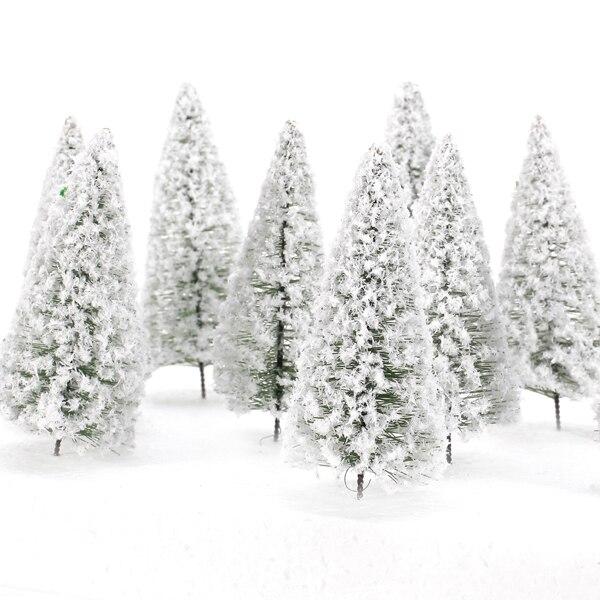 10 stücke 1:100 Skala Weiß Modell Baum Landschaft Eisenbahn Layout Landschaft Zeder Bäume 10 cm Weihnachten Party Decor Geschenk Kinder spielzeug