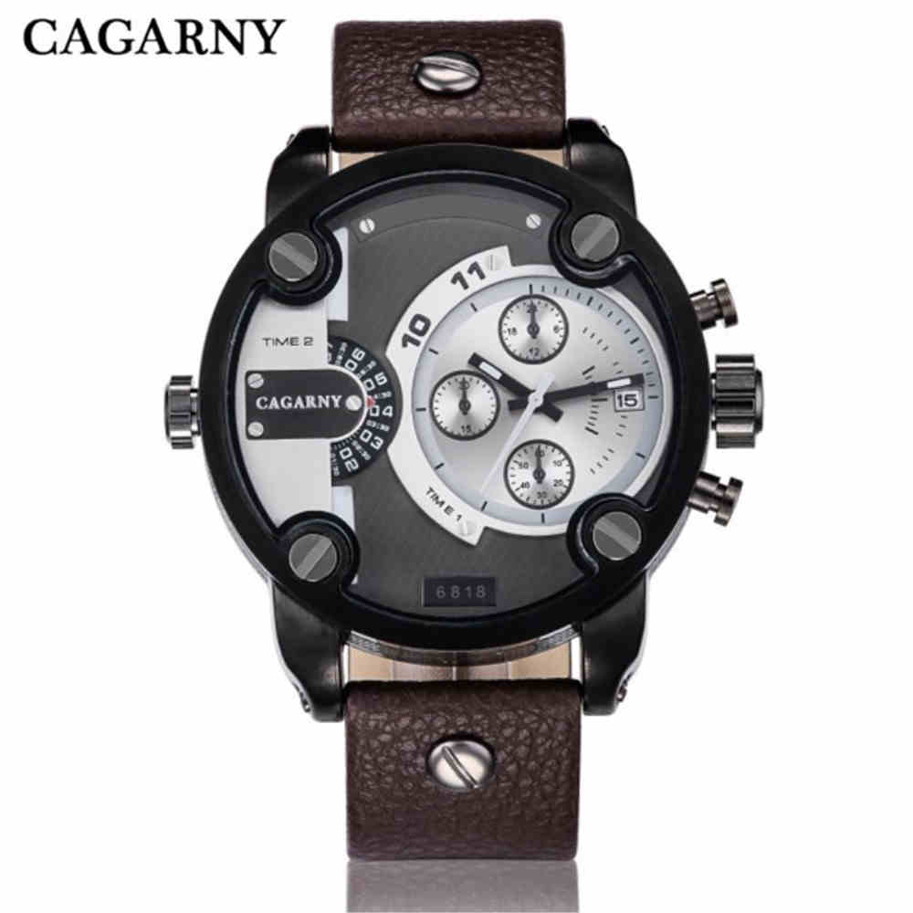 CAGARNY Men Quartz-Watch Fashion Man Luxury Watches Sport Army Military Watch Dual Time Zone Display Calendar Clock PENGNATATE skmei 1049 50m waterproof solar dual movement dual time zone men s sport watch black blue