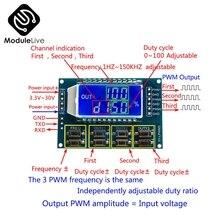 DC 3,3-30 в 3 канала 3-CH с регулируемой частотой метр pwm генератор сигналов ЖК-дисплей Дисплей метр 1Hz-150 кГц рабочий цикл 0-100