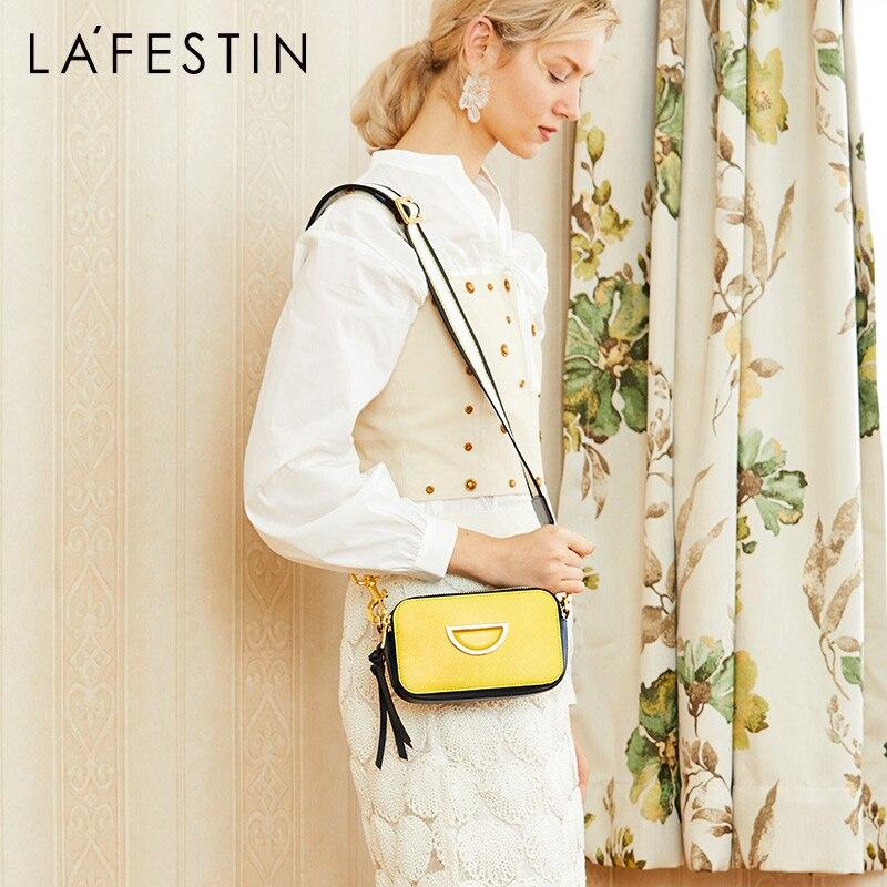 La Festin bags for women 2019 new Leather small square bag wide shoulder strap shoulder crossbody