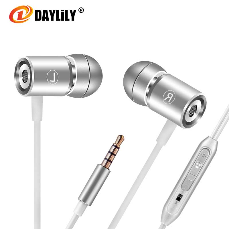 Daylily Earphones microphone fone de ouvido Sport earphone auriculares phone bass Metal Mp3 music Earphones Dj magnet pc