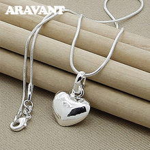 925 silber Herz Anhänger Halskette Kette Für Frauen Mädchen Silber Schmuck