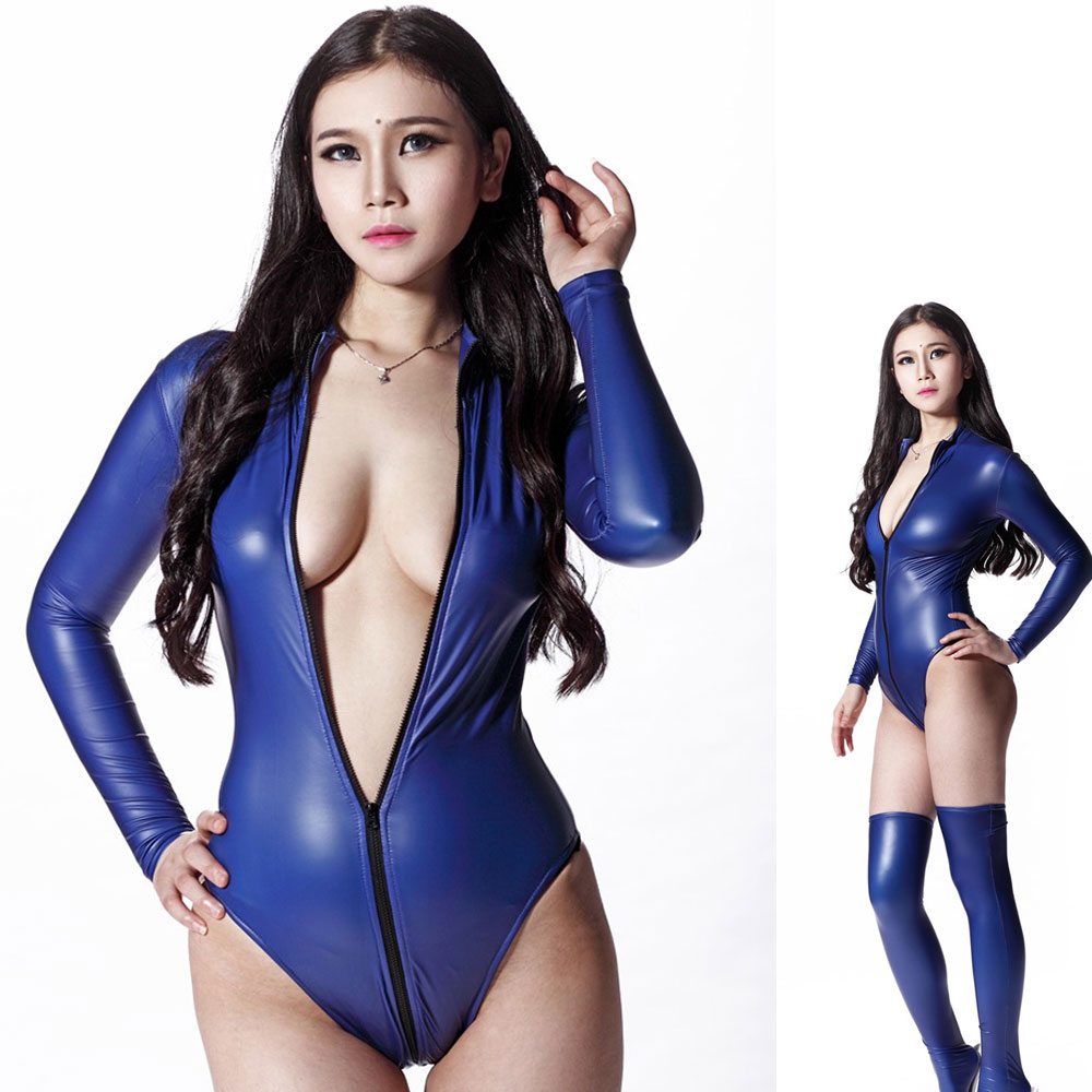 Sexy 200D Latex Bodysuit Long Sleeve Catsuit Thong Body Suit Women Wear Zipper Open High Cut Nightlclub Dance Wear Leotard YT128