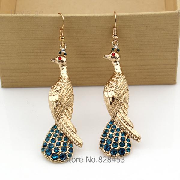 Gold Peacock Dangle Earrings for Women