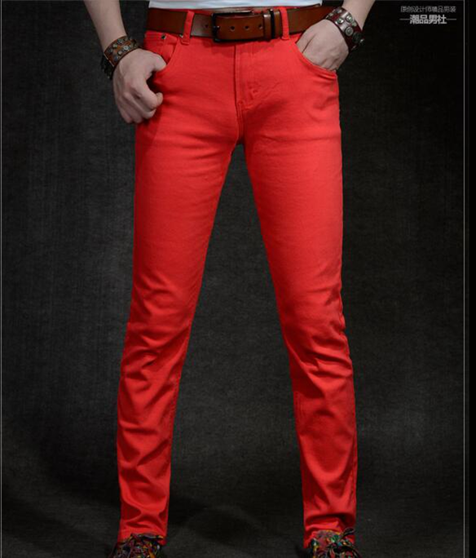 Mens casual fashion spring new body-building stretch jeans for young people Korean version of fashionable red trousers / 27-36