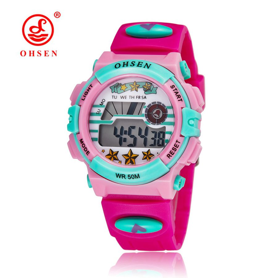 Digital Watch OHSEN LED Vattentät Resistant Barn Sport Klockor Mode Rubber Band Datum Dag Larm Student Barn Armbandsur