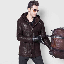 Men's Lamb Fur Jacket Double-Face Coat Sheep Fur Leather Jacket Fashion Slim Long Casual Jacket V-Neck  GSJ123
