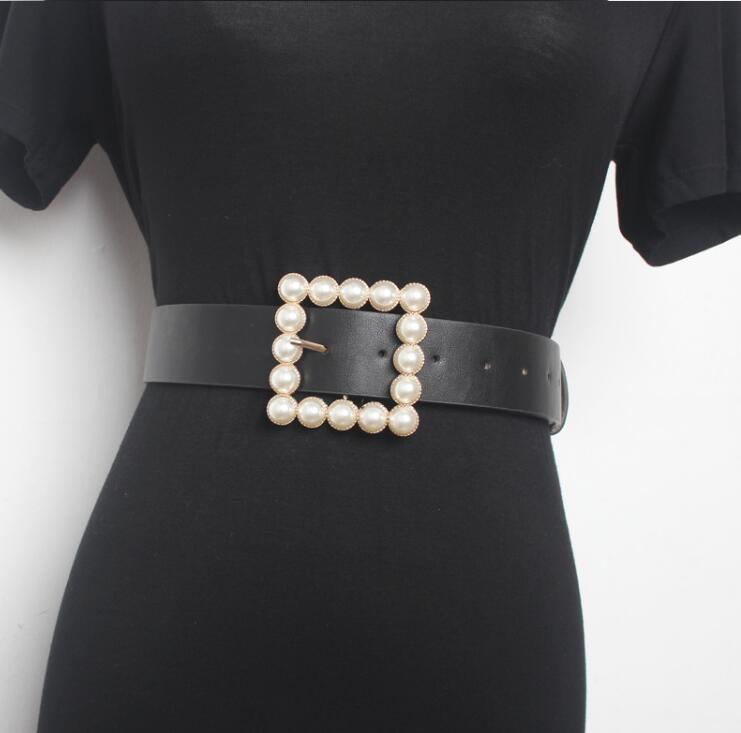 Women's Runway Fashion Pearl Buckle PU Leather Cummerbunds Female Dress Corsets Waistband Belts Decoration Wide Belt R1544