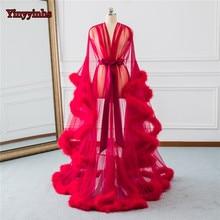 Свадебное платье с отделкой из красных перьев, свадебное платье из тюля, длинное платье для дня рождения, вечерние платья