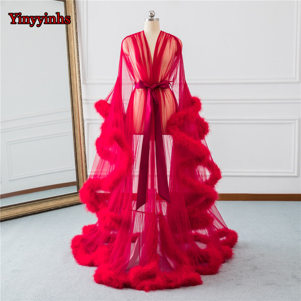Bridal Boudoir Robe Red Feather Trim Bridal Sheer Robe Tulle Illusion Long Birthday Feather Robe Costume Homecoming Party Dress