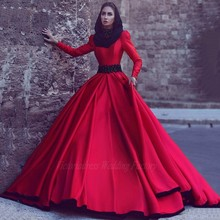 Red Muslim Evening Dresses Hijab Long Sleeve High Neck Satin Dubai Lady Formal Gowns 2017 Prom Party Dress Robe De Soiree Longue
