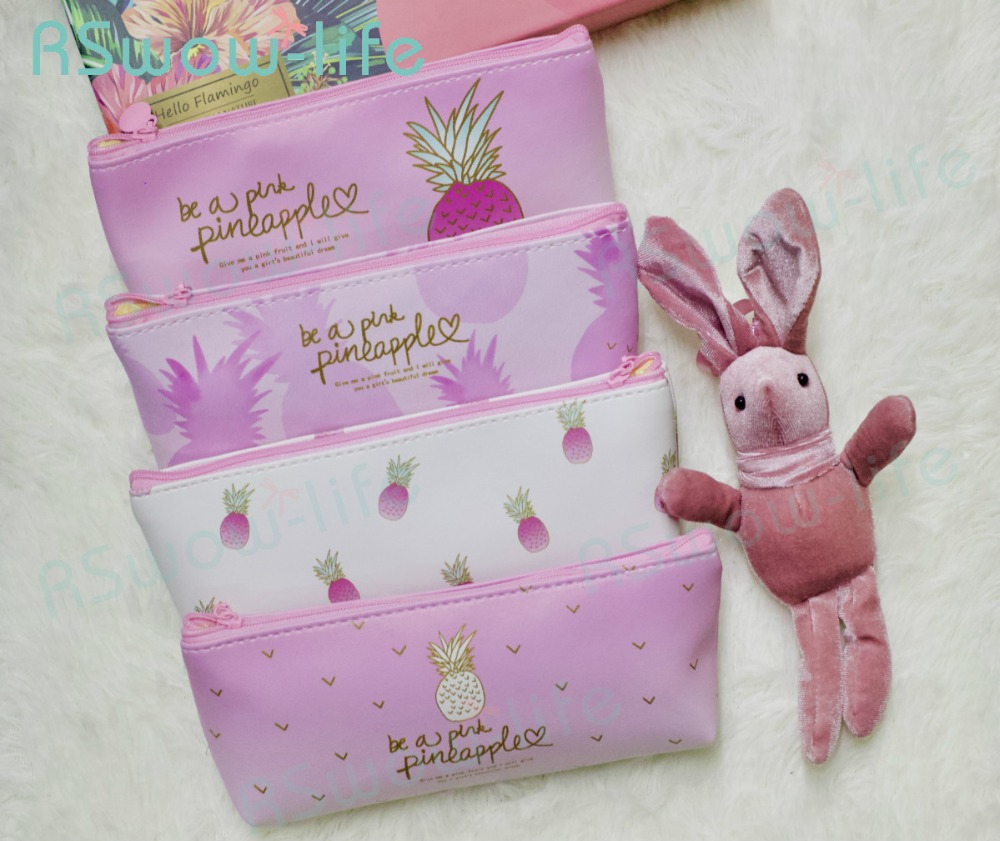 2pcs Cute Pink Pineapple PU Pencil Case Student Multi-function Storage Bag Gifts for Guests Creative Childrens Birthday