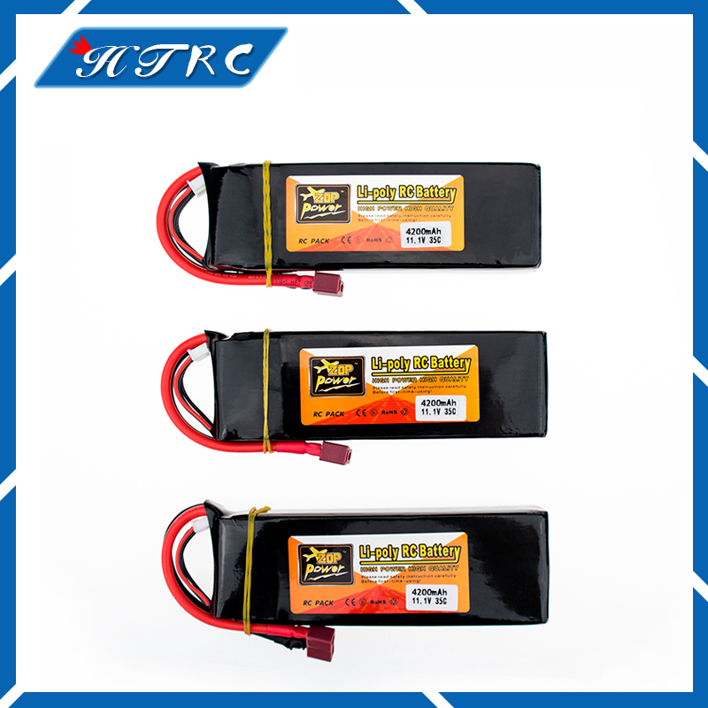 Lipo 3s 11.1v 4200mAh battery 35C ZOP XT60 or T plug 3pcs lithium batteries for RC Helicopter Airplane drone part wholesale zop power lithium polymer lipo battery 11 1v 10000mah 3s 25c t plug for rc airplane car boat helicopter part