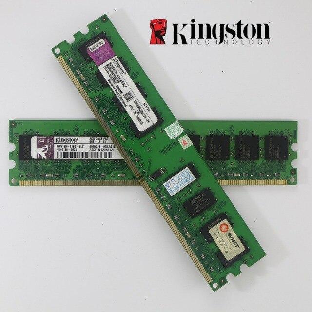 Usado Kingston RAM Desktop DDR2 4 gb gb 2 2g 4g PC2-6400 800 mhz 667 mhz 2 peças PC Memória RAM DIMM 240 pinos Para AMD intel para 2g 4g